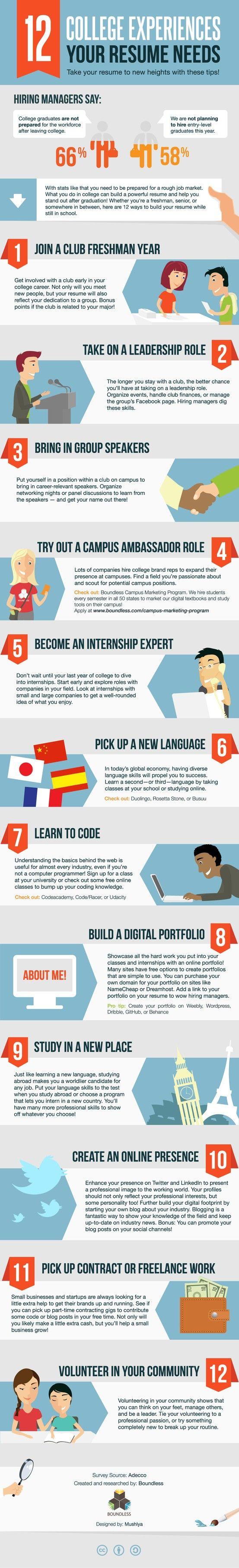12 experiencias en la Universidad que tu curriculum necesita #infografia