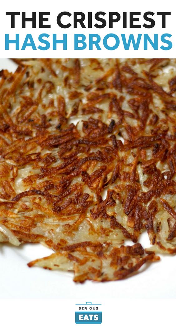 Squeezing the shredded potato in a towel to remove as much moisture as possible helps them brown more evenly. Cooking the shredded potato briefly in the microwave helps them develop a better crust that remains crunchy for longer.