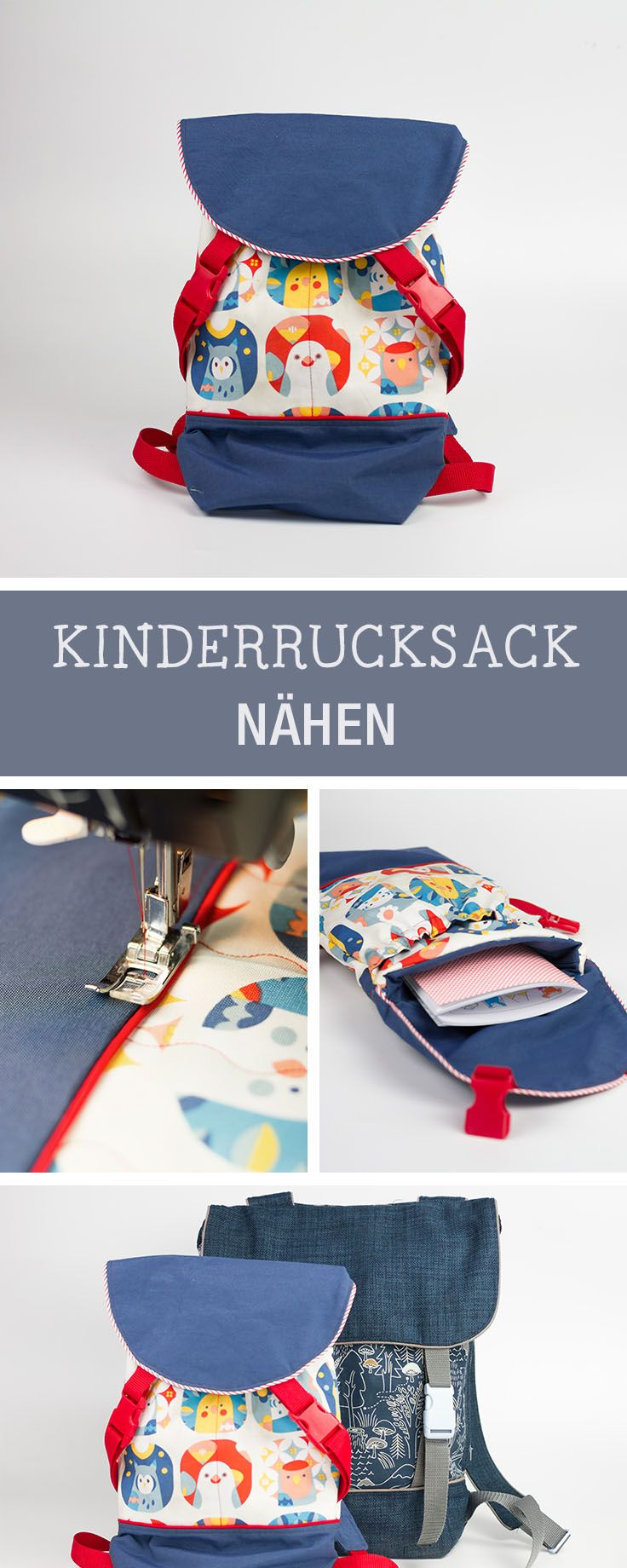 Nähanleitung für einen süßen Kinderrucksack für den Kindergarten / sewing tutorial and pattern for a kids backpack via DaWanda.com