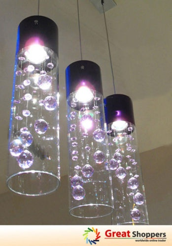 Glass Shade Crystal Ceiling Light Pendant Lamp x 3 pendants (Purple/Clear). $170. If only they were 3 separate pendants...