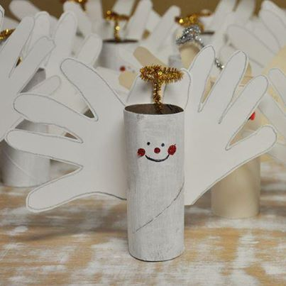 Christmas angels made with toilet paper rolls and kid's handprints!!