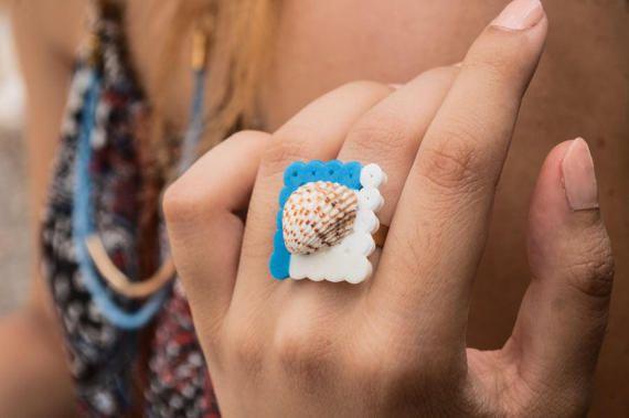Greek Seashell Square Ring