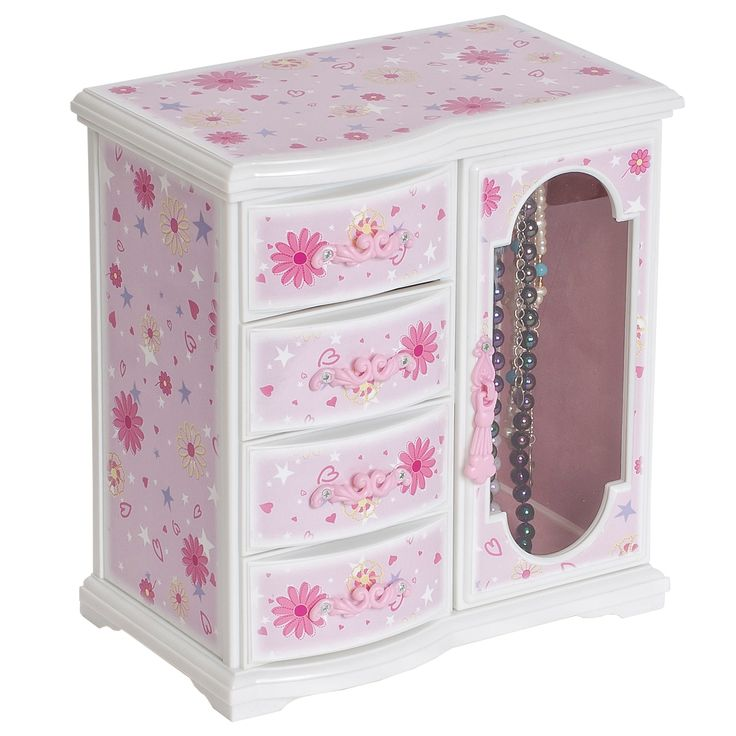 """Features:  -Hand lined in pink sueded fabric.  -Lift lid with full interior mirror.  -Top offers open area storage.  -Twirling blond ballerina.  -Plays """"Swan Lake"""".  -Necklace carousel with clear view"""