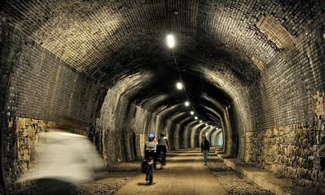 The Monsal Trail passes through several reopened railway tunnels in the Peak District