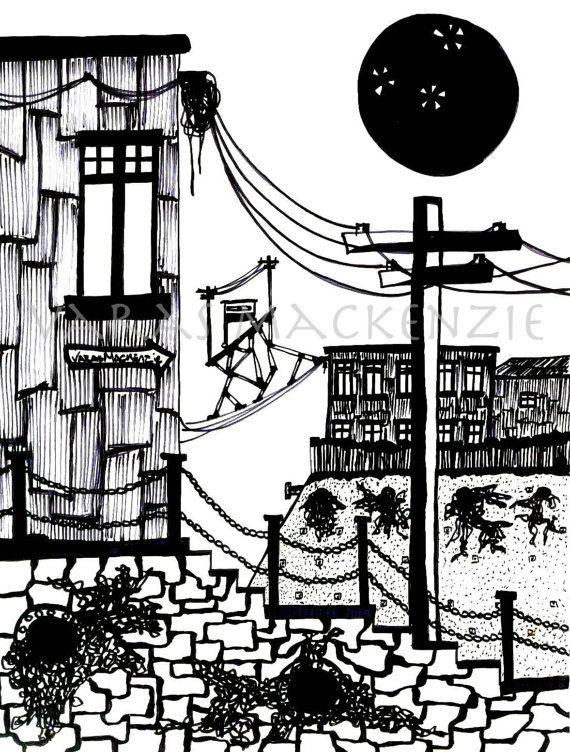 Art Print, Surreal Illustration of Valparaiso, Black moon, elevator.
