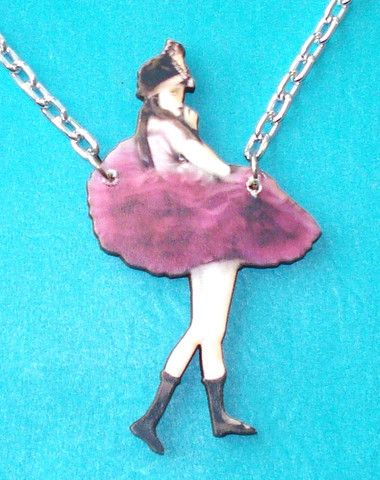 Sexy Coquette Purple PinUp Pendant Necklace - Mookie Designs