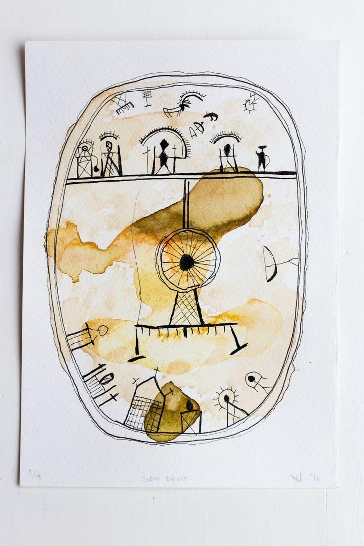#Sami #Drum #Shaman #Shamanism #Traditional #Draw #Watercolor #JordiNN #2016 #Symbol #Design #Sápmi