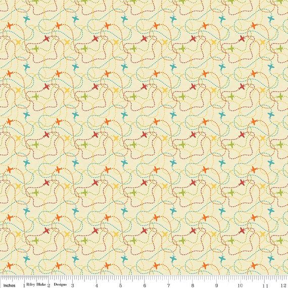 Airplane Fabric, Riley Blake Little Flyers C4576 Cream, Flying Fabric, Airplane Quilt Fabric, Cotton Fabric with Airplanes, Boys Fabric