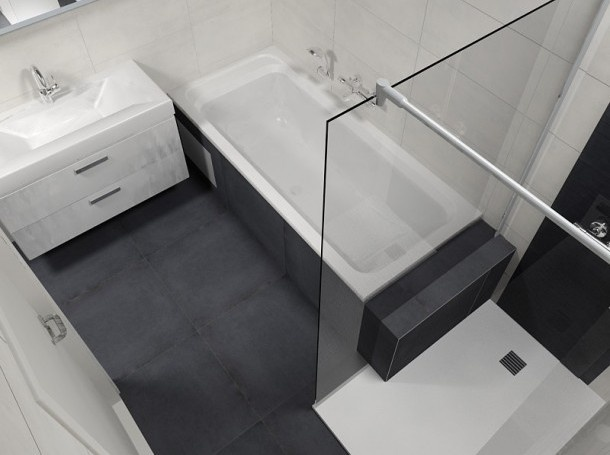 Bad lijkt door te lopen in douche handig voor shampoo etc badkamer pinterest tes doors - Badkamer lay outs met douche ...