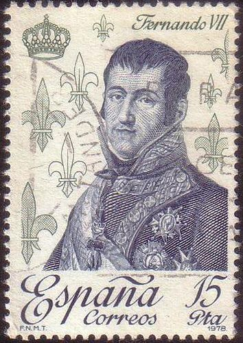 Fleur de Lis symbol on Spain's stamp