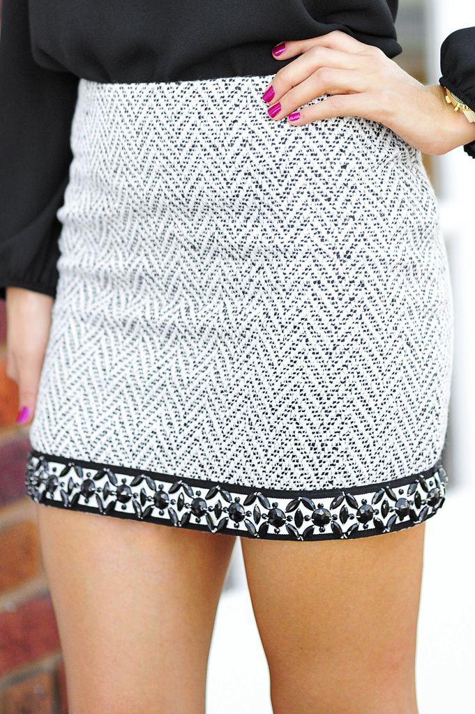 Love the embellishments on the hem of this mini skirt.