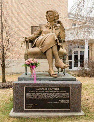 Statue of Margaret Thatcher on Hillsdale College Campus
