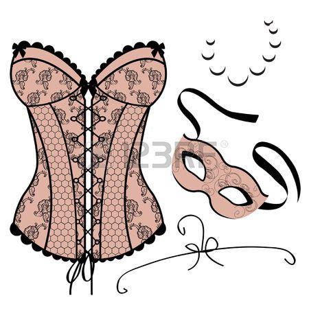 Ensemble d l ments pour les femmes masque de carnaval corset collier Banque d'images