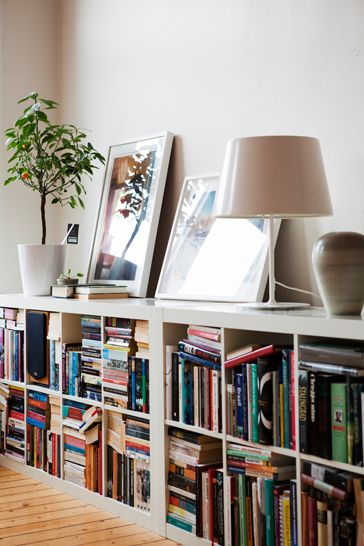 Low bookshelves - these are taller so better for bigger ring binders. Doubles up as a surface for lamps/plants/pictures.