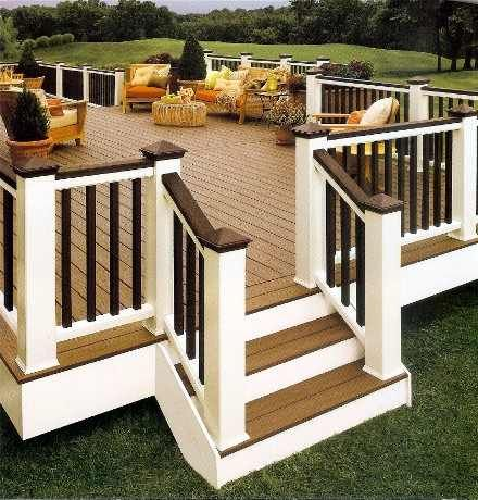 Deck contrast on handrail and pickets... we're considering painting the top rail and possible the pickets a darker color next time--- here's a great example of how it would look