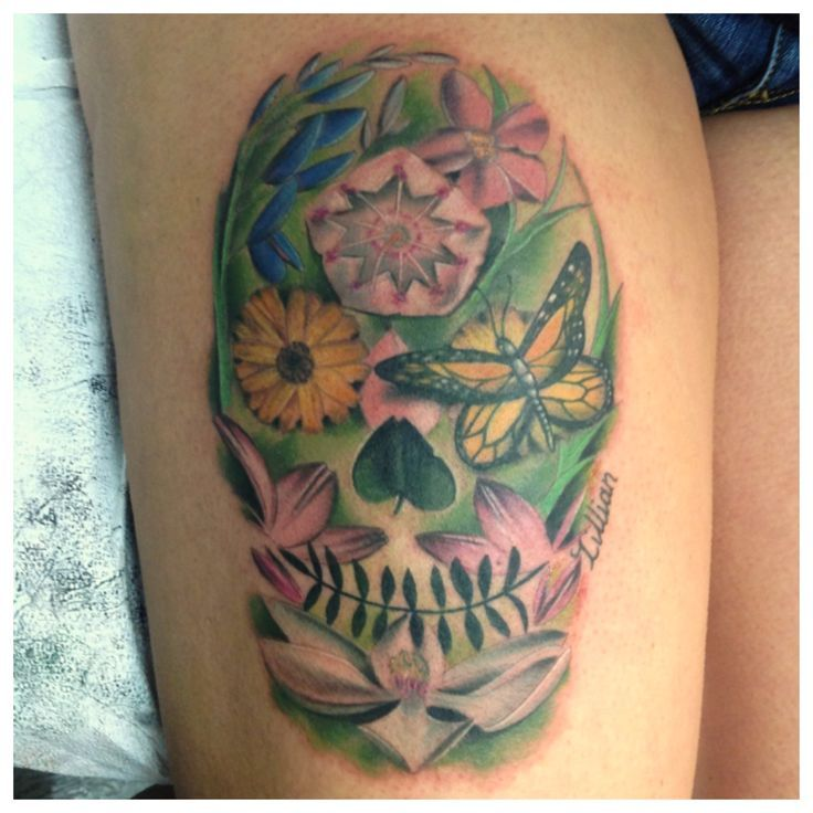 flower and skull tattoos - Google Search