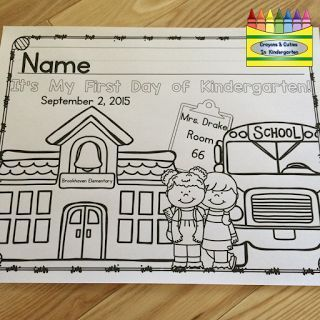 FREE editable coloring page for the first day of school! Preschool, Pre-K, Kindergarten, TK and First Grade included!