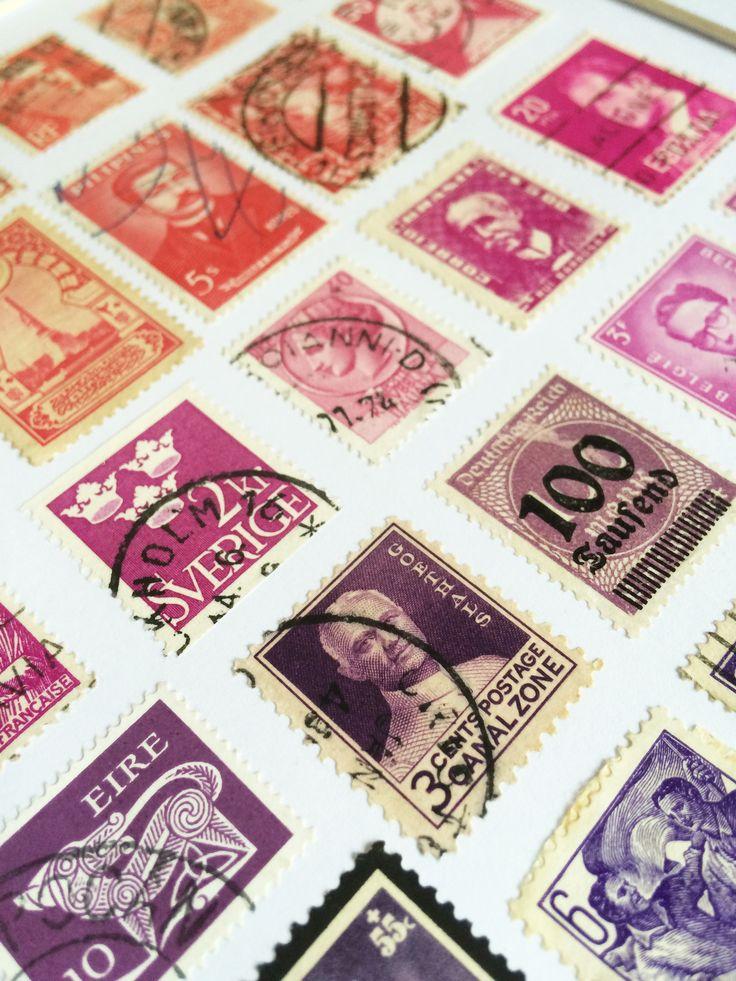 Vintage Framed Stamp Wall Art - Purple Pink Ombre