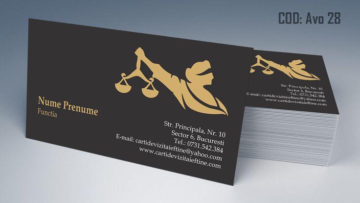 Carti de vizita avocat cod AVO 28 - modele online gratis, printate color fata sau fata-verso. Tiparim carti de vizita atat pentru cabinet de avocat cat si pentru cabinet notarial, juristi sau avocati stagiari. Lawyer, law, attorney business cards templates