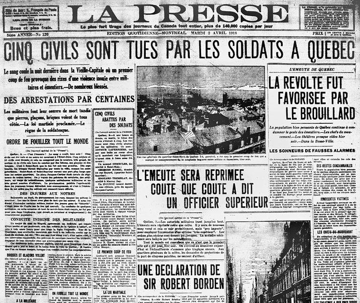 1918 jour sombre pour le Québec