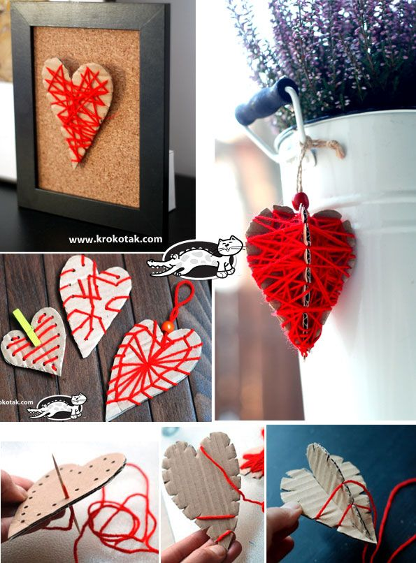 Hearts from cardboard and thread – three variants
