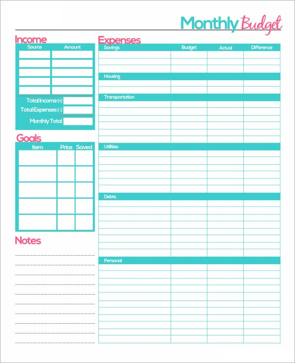 free printable monthly budget planner template the bee s knees