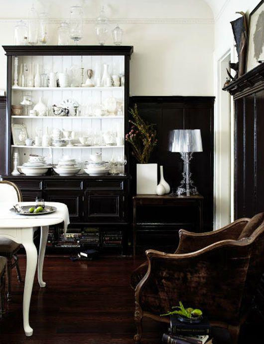 That Shelving Unit!: Interior Design, Decor, Dining Rooms, Black And White, Interiors, Diningroom, Black White