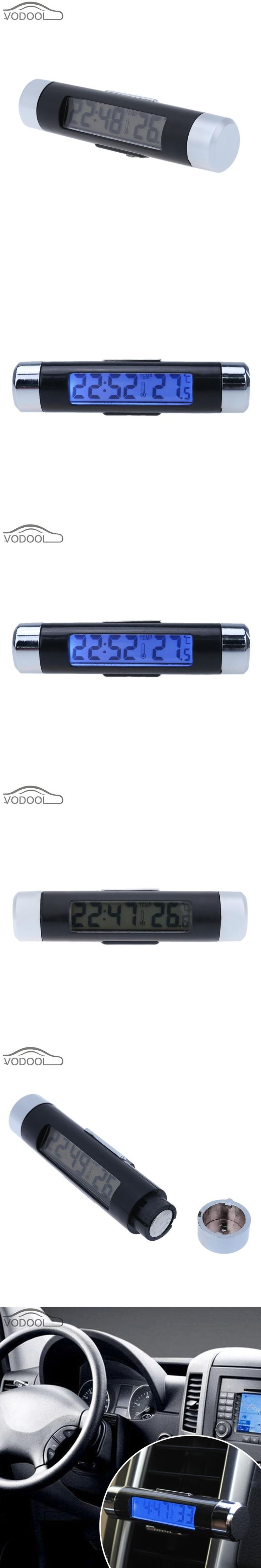 Mini Car Clock Thermometer Automobiles Interior AC Vent Suction Cup Mount Led Backlight Digital Display Temperature Meter Gauge