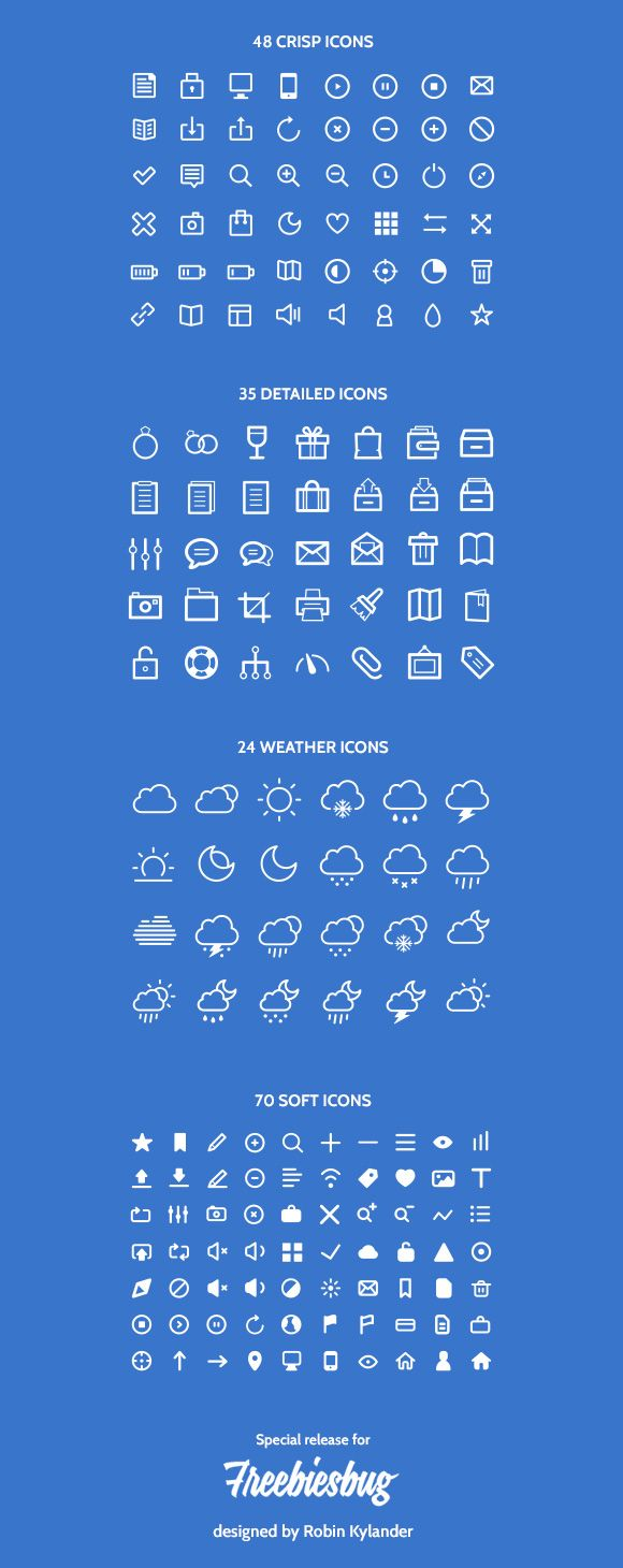 The freebie, provided in both Adobe Illustrator (AI) and Adobe Photoshop formats (PSD),includes 48 crisp icons, 35 detailed icons, 24 weat...