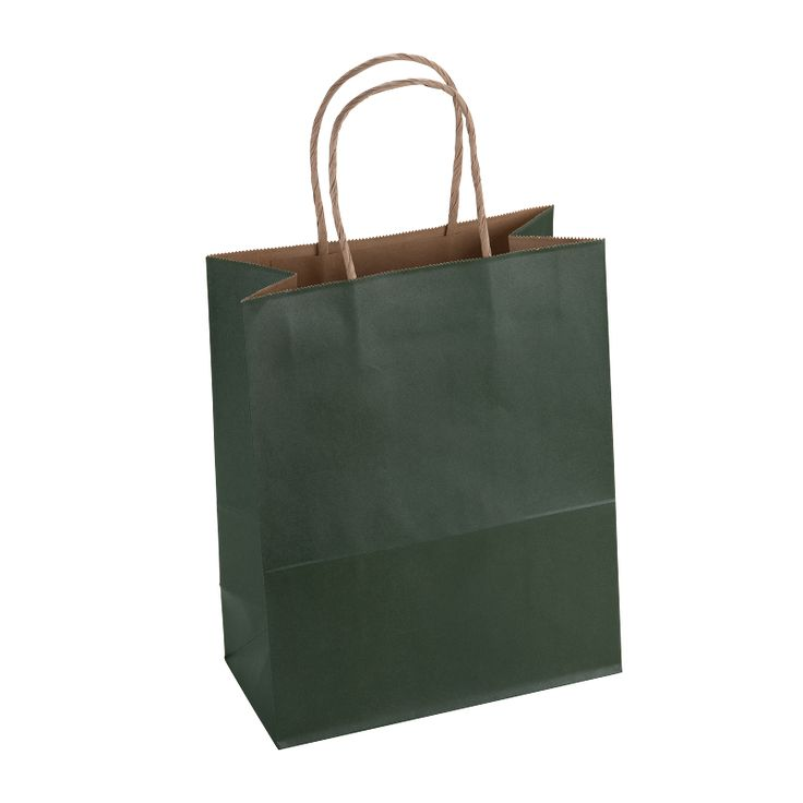 Paper Bag Medium Tall 210w x 110d x 270h Dark Green pack 100 - Surestyle Limited