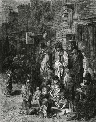 Whitechapel, one of the worst London slums & stomping ground of Jack The Ripper