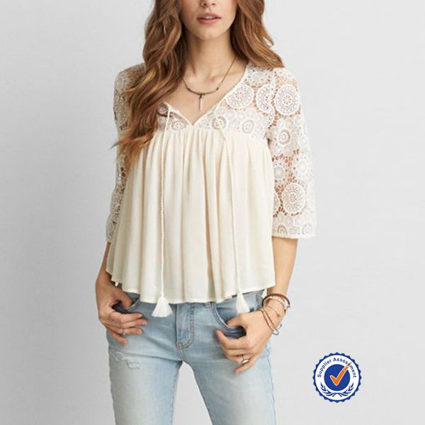 Blouses mode 2016 vrouwen lace haak panel lange mouw crêpe top blouse dames suits kant ontwerp-afbeelding-Plus size shirts&…