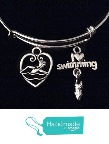 Swimmer Girl I love Swimming Expandable Charm Bracelet Sports Team Coach Gift Silver Adjustable Wire Bangle from Jules Obsession https://www.amazon.com/dp/B01N4323L0/ref=hnd_sw_r_pi_dp_bOEmybANHPN9H #handmadeatamazon