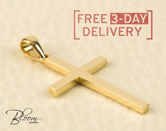 Cross Necklace  14k Rose Gold Cross Necklace  Solid 14k Gold Cross  Communion Cross  Confirmation Cross  Baptism Cross  Religious