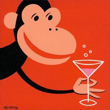 'Conspicuous Consumption'  monkey with a martini ~ artist = Shag