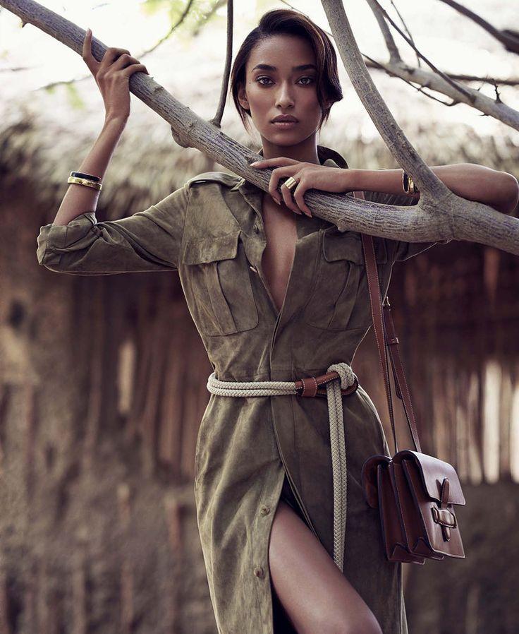 In he pages of Harper's Bazaar, the Ralph Lauren suede safari shirtdress for Spring 2015