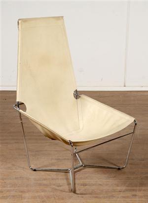 Lauritz.com - Furniture - Ubekendt møbelarkitekt. Hvilestol i beige læder. - DK, Næstved, Gl. Holstedvej