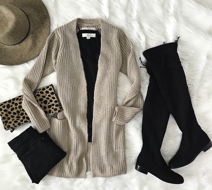 black over the knee boots leopard clutch black jeans fall outfit idea