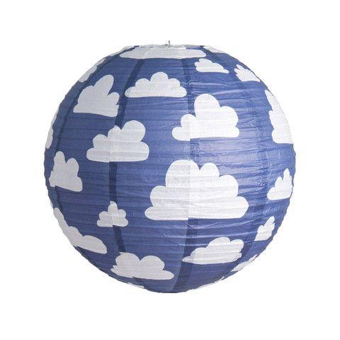 Lamp Shade . Paper Lantern - Clouds Blue
