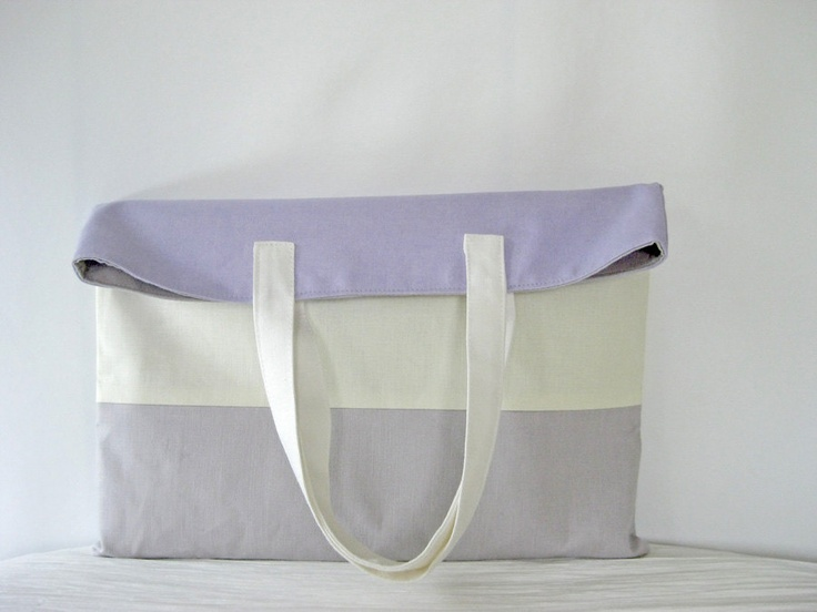 Linen Color Blocked Flat Tote in Light Purple, Pastel Yellow and Light Grey - Beach Tote, Market Tote, Weekend Tote by StudioTAC