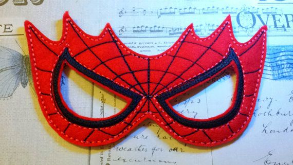 spiderman super hero inspired mask ITH Project In the Hoop Embroidery Design Costume, Cosplay, Fancy dress, Masquerade, Photo booth, Prop.