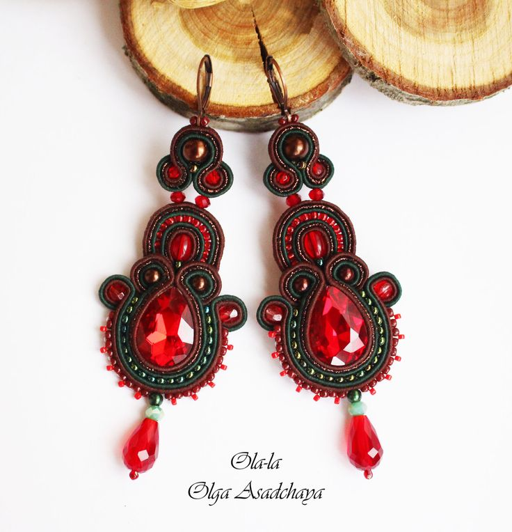 "earrings ""Brusnichka"" soutache, crystal rhinestones, crystal and glass beads, glass beads for pearls, Japanese seed beads"