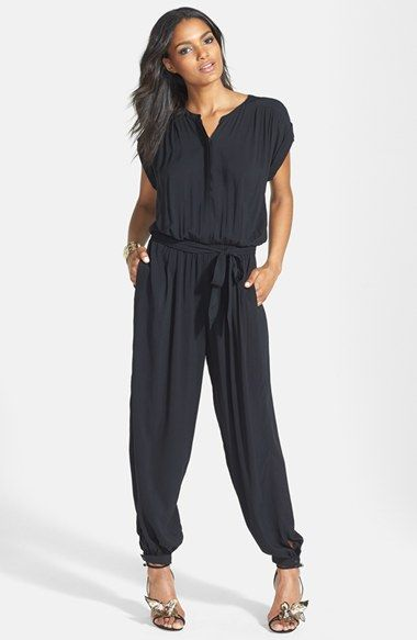Free shipping and returns on Leith Belted Cuff Jumpsuit at Nordstrom.com. A soft, fluid jumpsuit boasts a hidden front-button placket, gathered shoulders and chic cuffs at the sleeves and ankles. A matching tie belt cinches the waist for a flattering silhouette.