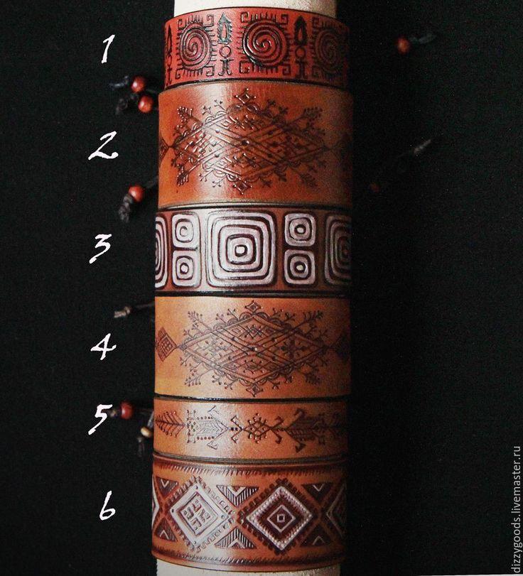 Купить Кожаные браслеты Индейские мотивы (6 вариантов) - комбинированный, коричневый, индеец, тотем, орнамент