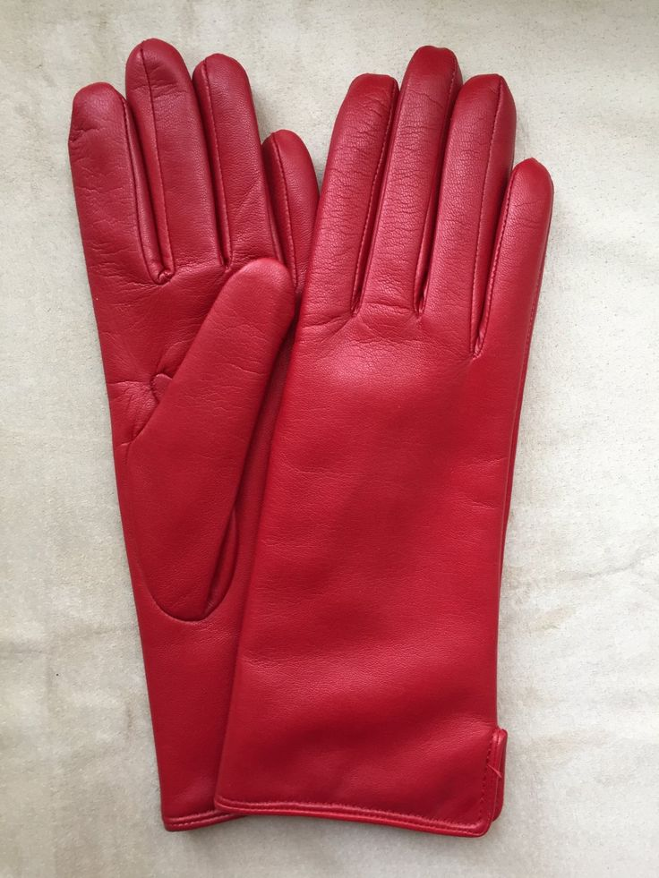 RED+Winter+leather+gloves+for+ladies/+ladies+gloves/+classic+style/+wool+lining+size+8+inches+L