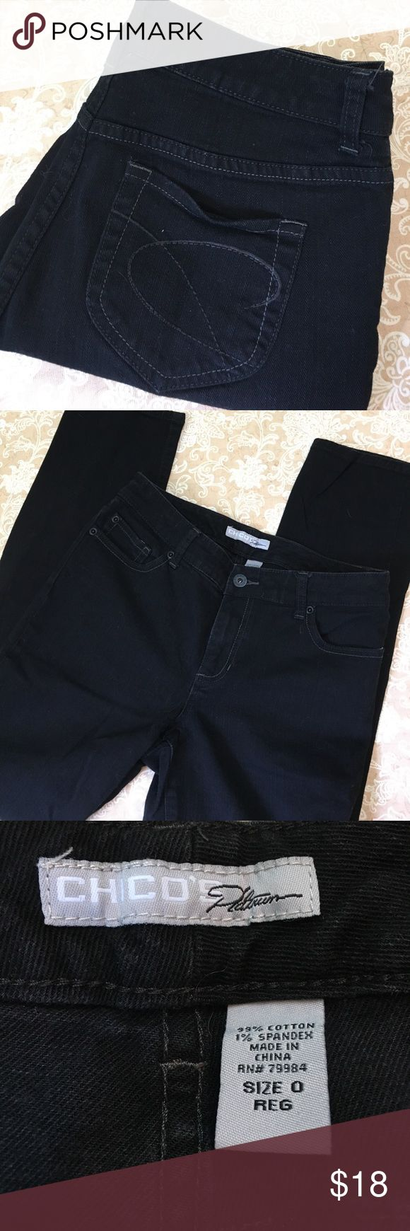 Chico's Black Ultimate Fit Slim Leg Jeans Great pair of black Chicos jeans ultimate fit slim leg. 99% cotton 1% spandex.  New condition.  Size 0 = size 4.  See chart in photo.  Waist measured flat 15 inches, rise 9 inches and 29 inches. PT157 Chico's Jeans