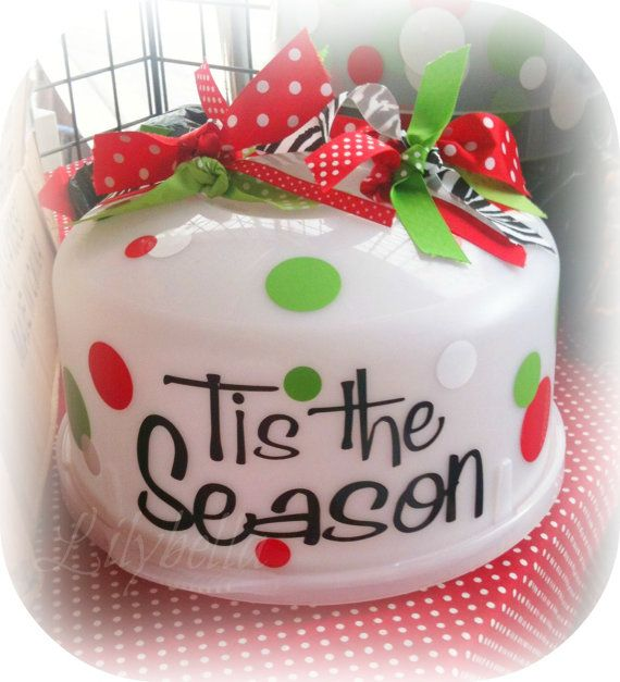 Holiday Cake Carrier Vinyl Set Design your by lilybellaboutique