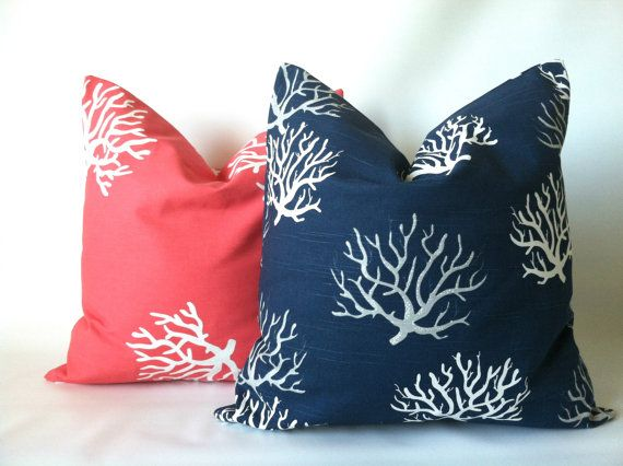 You don't have to live at the beach to decorate like you do! Coral Navy Beach Pillow Cover Set   18 x 18 Two by PillowStyles, $18.00
