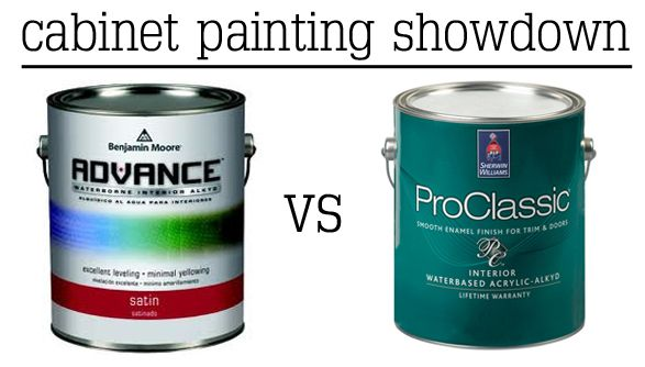Comparison of BM Advance paint and SW ProClassic for painting cabinets - pros and cons of both
