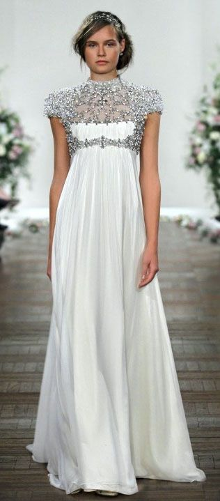 Wedding dress. Gown. Formal. Prom. Maternity. Empire. High waist. High neck. Sheer. Metallic. Silver. Beaded. Sequined. Shimmer. Sparkle. White chiffon. Full length. Cap sleeve. Sleeves. Short sleeves. Fashion. Unique. Beautiful. Sweet. Romantic. Regal. Sophisticated. Classy. Grecian roman. Jenny Packham